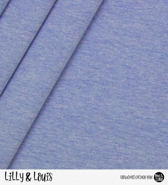 Jersey Baumwolle Uni - blau meliert