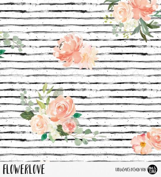 78 cm RESTSTÜCK-Flowerlove - Weiß *Bio-Sommersweat*-