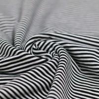 Jersey Streifen - Schwarz/Weiß 3mm