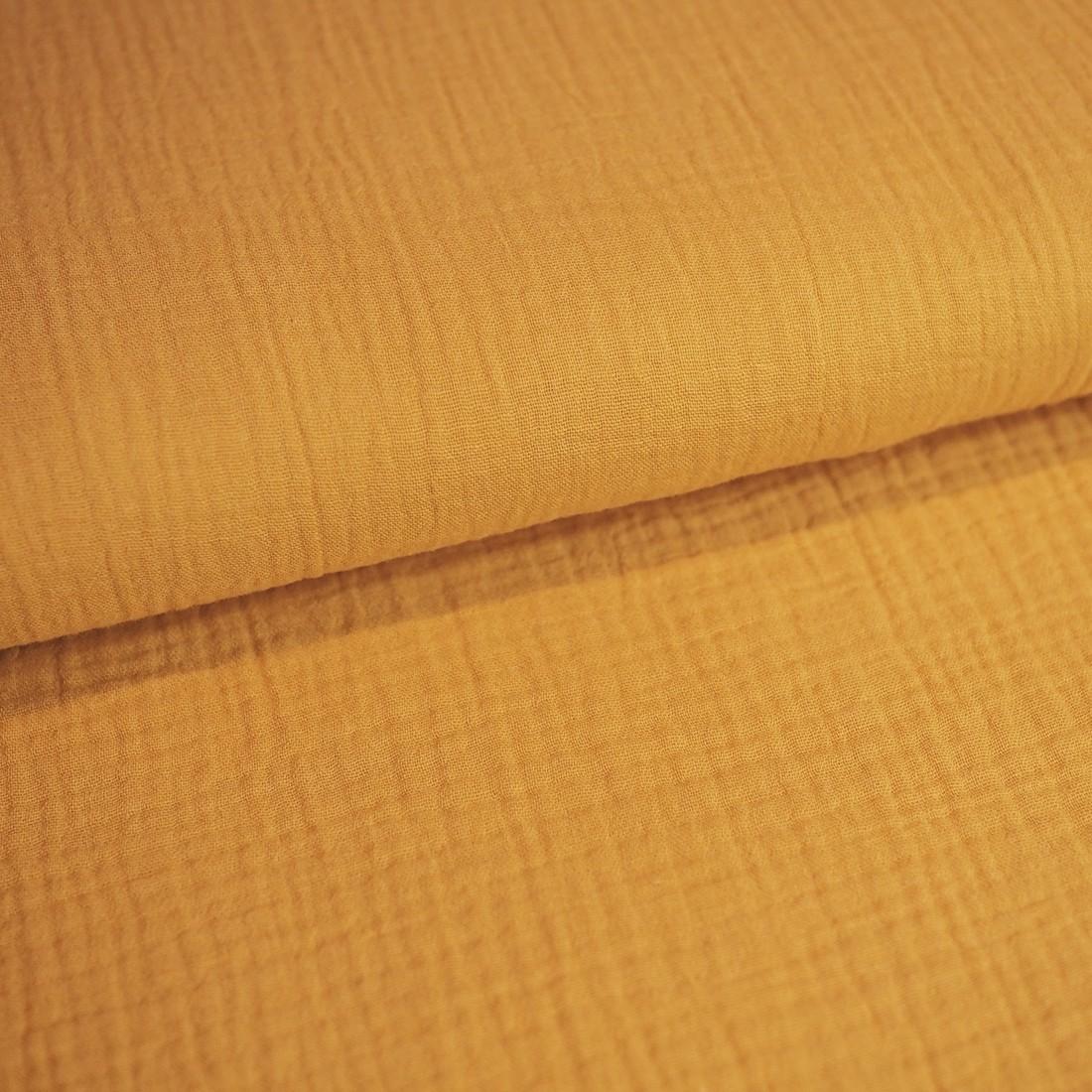 31 cm RESTSTÜCK-Baumwolle Musselin - Ocker-