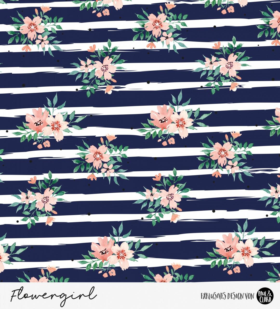 Eigenproduktion Flowergirl Steifen Navy Softshell