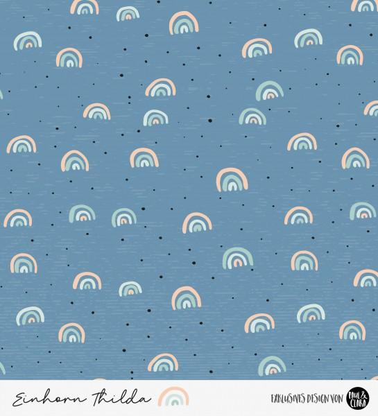 Einhorn Thilda - Regenbögen Blau *Bio-Sommersweat*