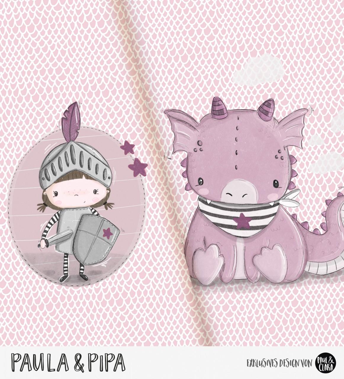 Paula & Pipa - Panel Rosa-Malve *Bio-Jersey*
