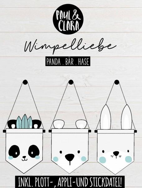 Ebook Wimpelliebe *Bär Panda Hase* inkl. Plott-, Appli- und Stickdatei!