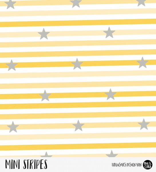 Mini Stripes meliert - Sterne Ombre Gelb/Anthrazit *Bio-Jersey*