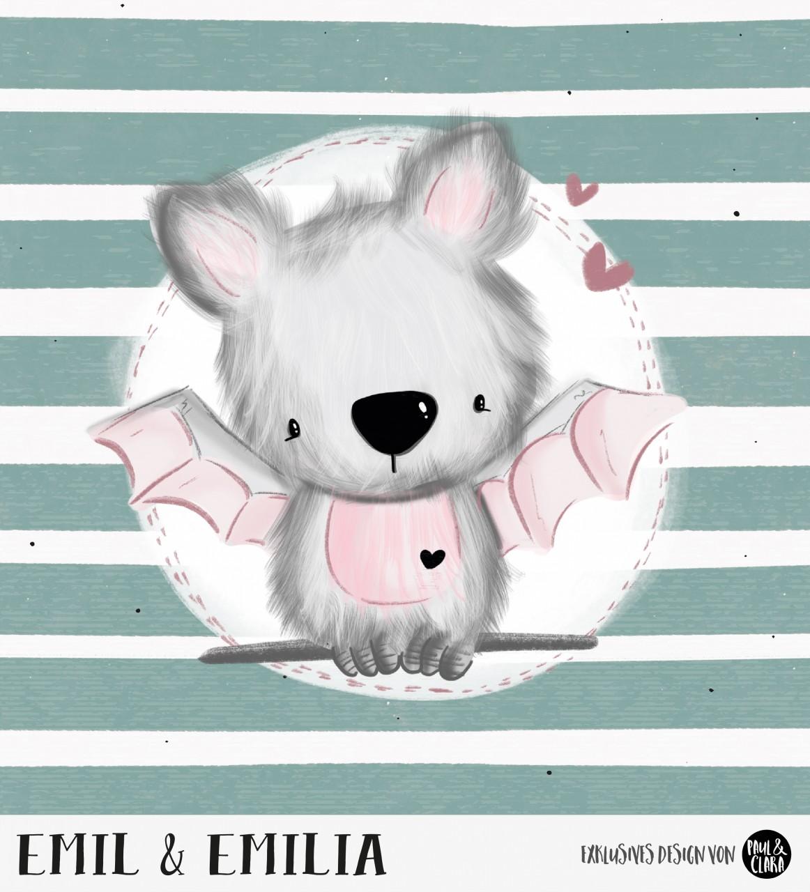 Emil & Emilia - Panel Petrol-Rosa 60 cm *Bio-Sommersweat*