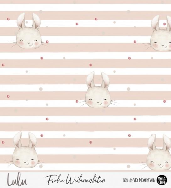 Lulu Weihnachten - Hasen Streifen ROSA *Bio-Sommersweat*