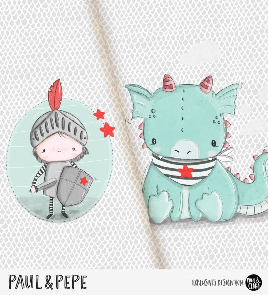 Paul & Pepe - Panel Grau-Mint *Bio-Jersey*