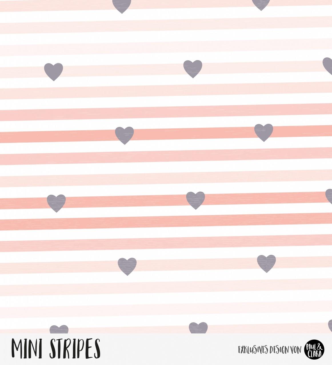 Mini Stripes meliert - Herzen Ombre Lachs/Anthrazit *Bio-Jersey*
