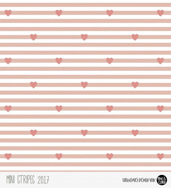 Eigenproduktion Mini Stripes meliert - Herzen Rose