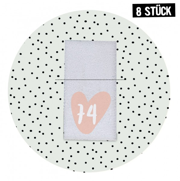 Größenlabel Herz *74* - 8er Pack