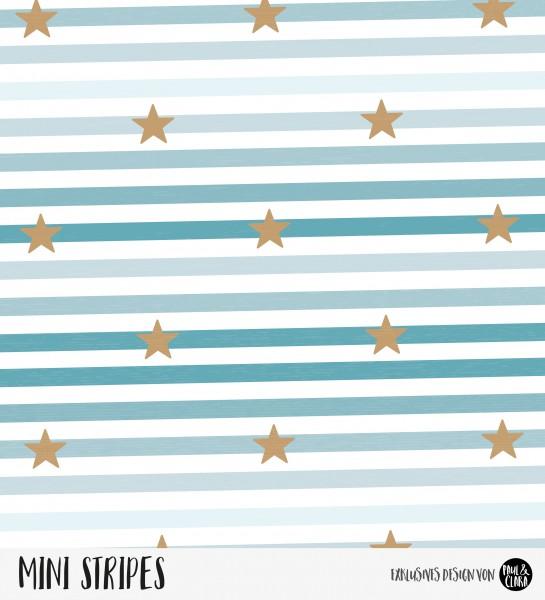 Mini Stripes meliert - Sterne Ombre Ozean/Kupfer *Bio-Jersey*-RESTSTÜCK