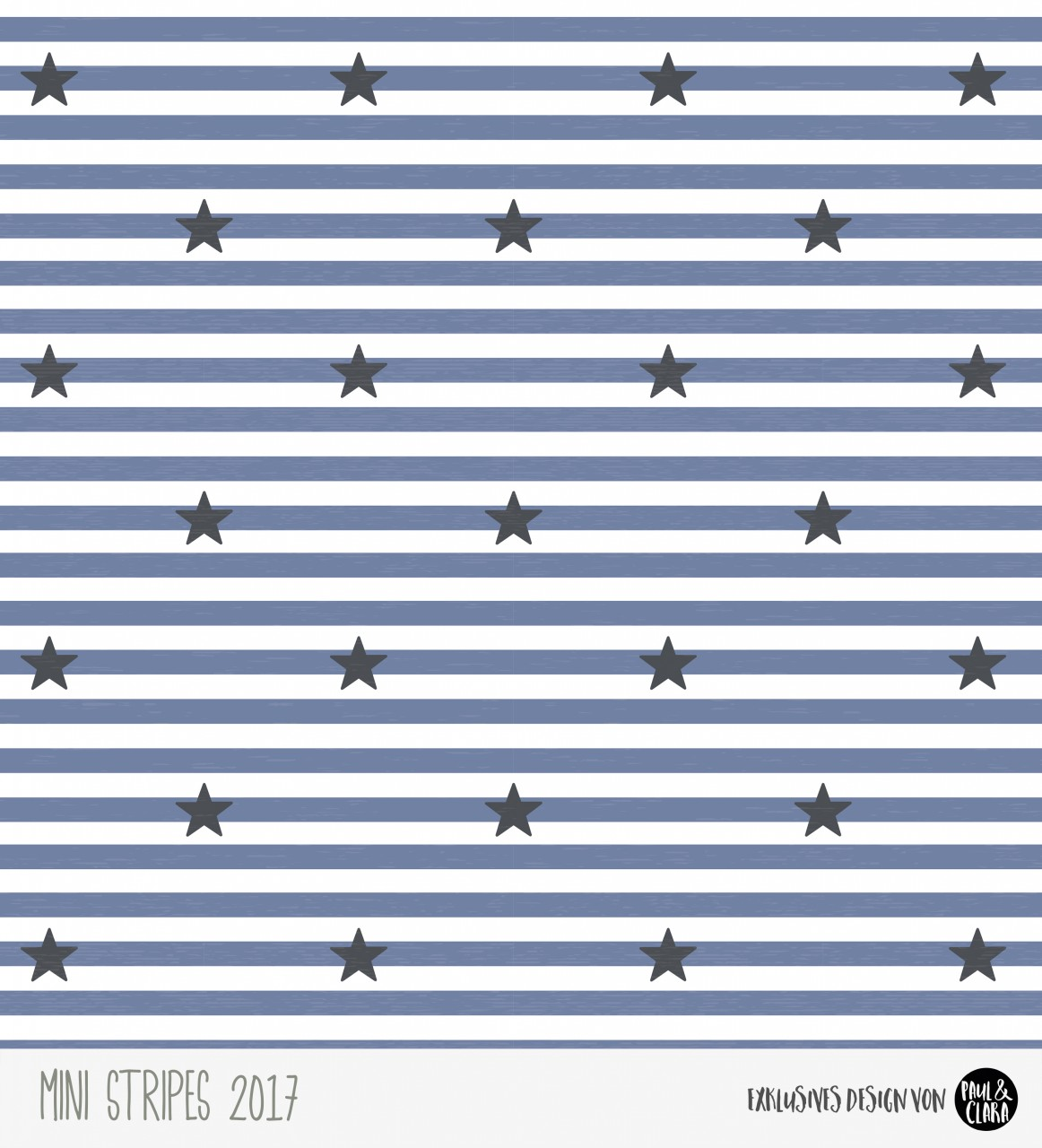 Eigenproduktion Mini Stripes meliert - Sterne Rauchblau/Grau