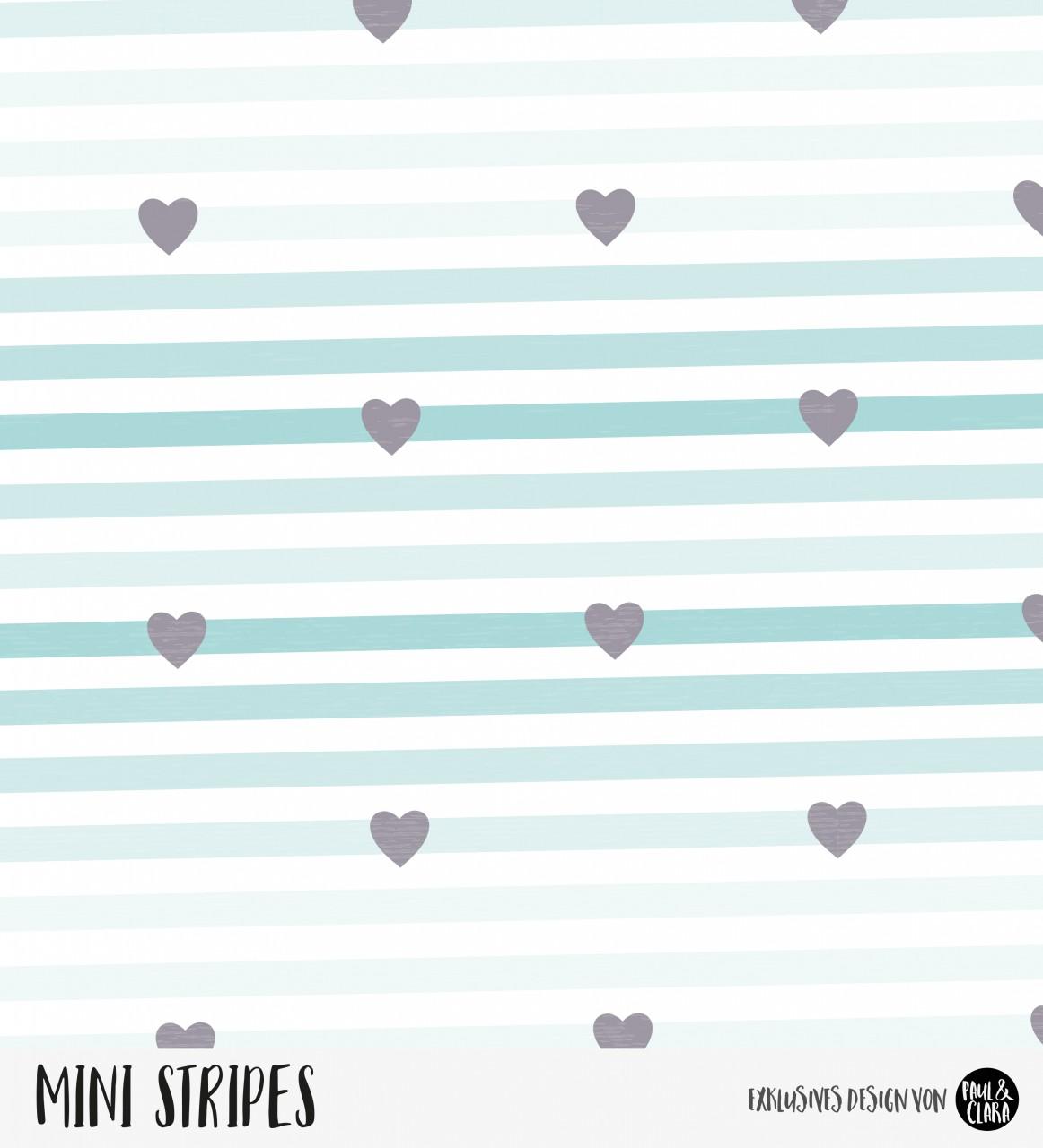 Mini Stripes meliert - Herzen Ombre Mint/Anthrazit *Bio-Jersey*
