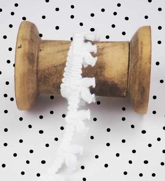 Quastenborte mini - Weiß