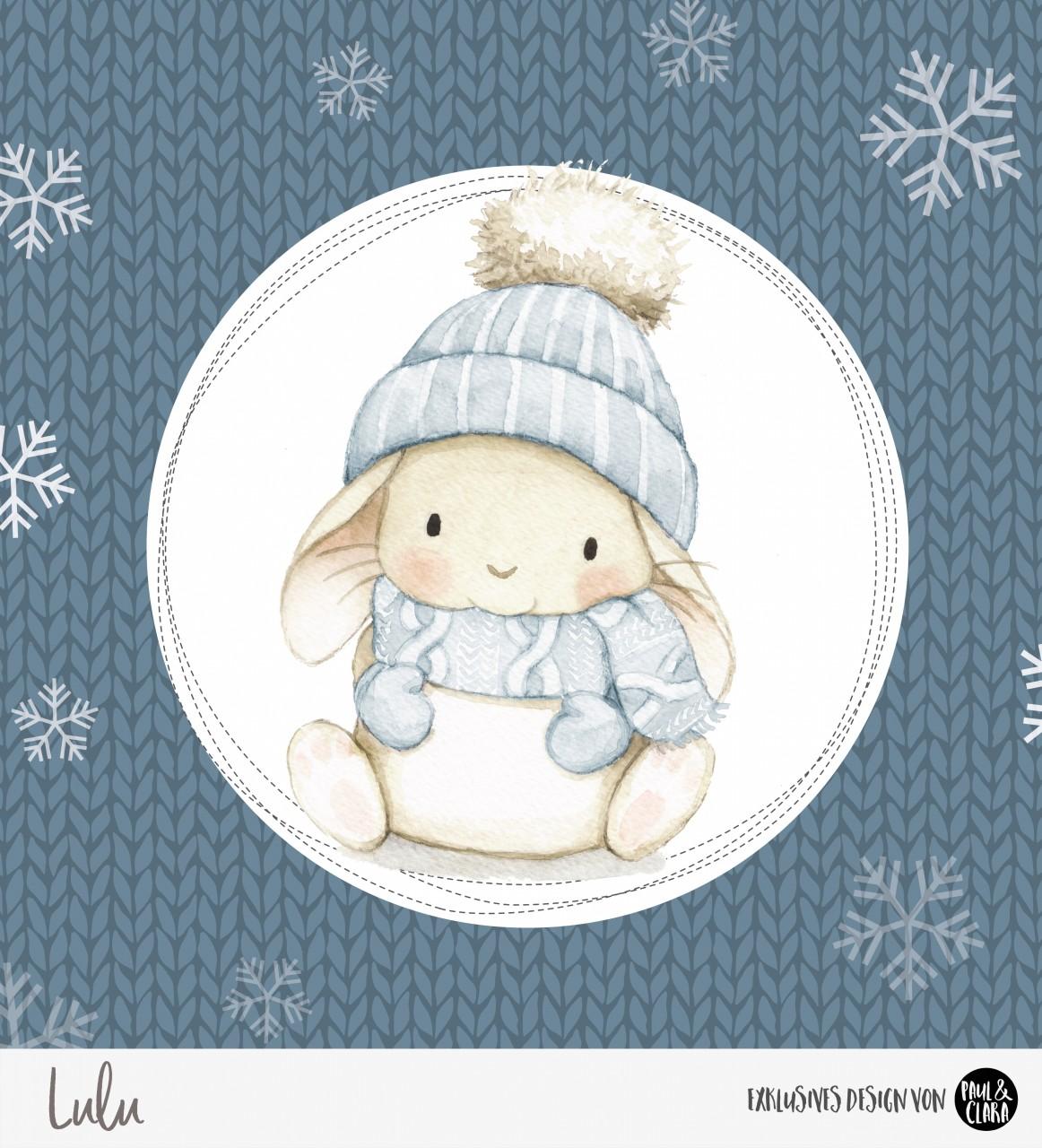 Lulu Winter - Panel Blau 60 cm *Bio-Sommersweat*