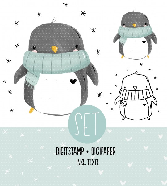 Digistamp Winterpinguin inkl Digipaper