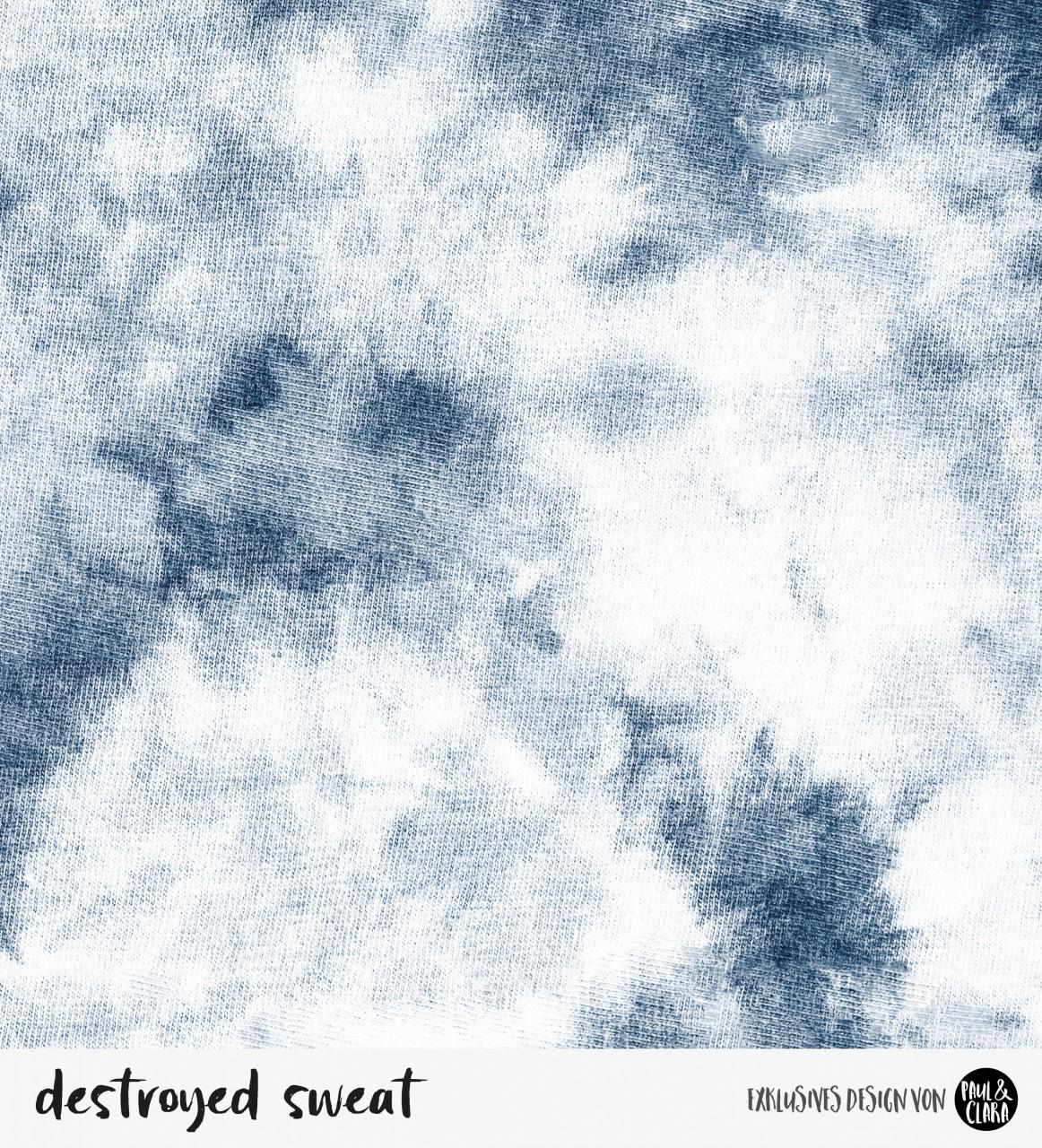 Destroyed Sweat blau- *Bio-Sommersweat*-56 cm RESTSTÜCK