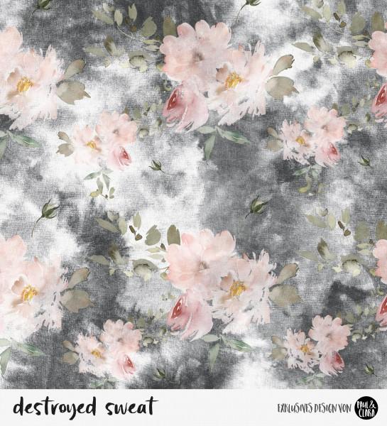 destroyed sweat flowers - Schwarz *Bio-Sommersweat*