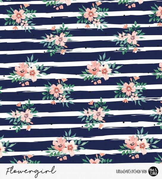 Eigenproduktion Flowergirl Blumen Navy Kombi *Jersey*