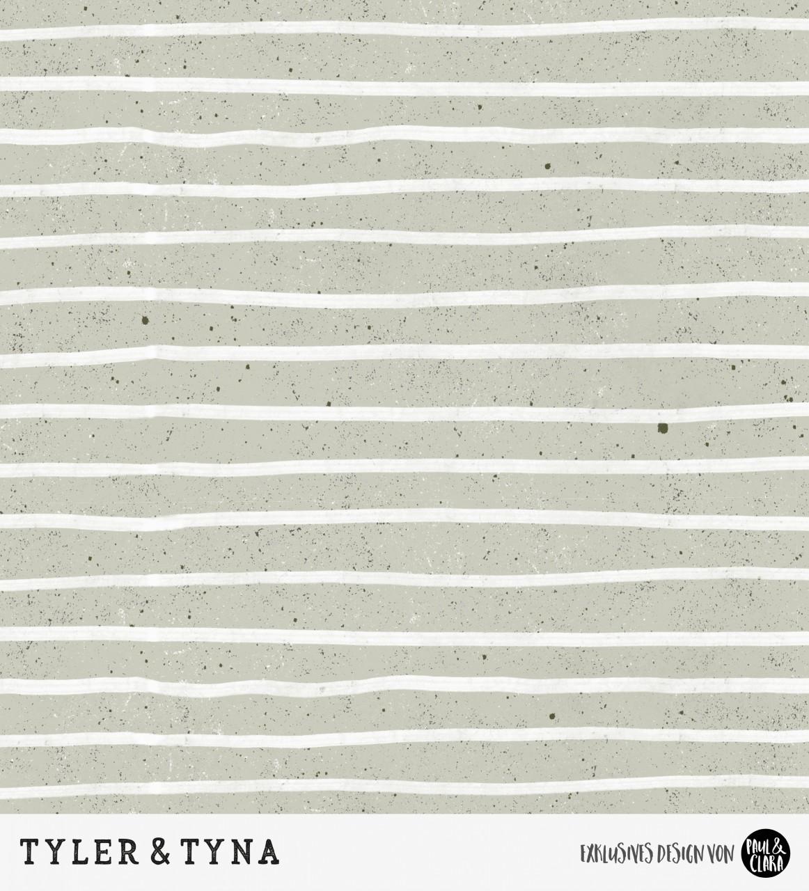 Tyler & Tyna - Streifen Olive *Bio-Sommersweat*