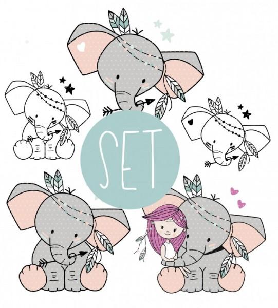Plottervorlage Boho Elefant SET
