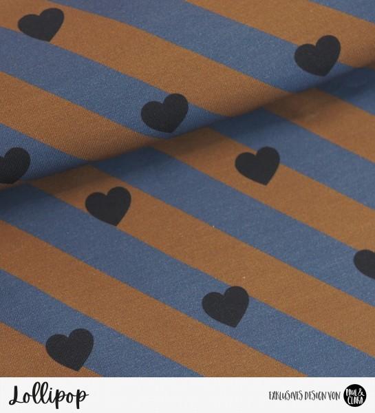Lollipop - Rauchblau/Ginger HERZEN *Bio-Jersey*