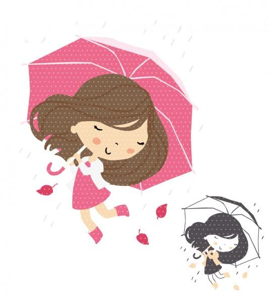 Plottervorlage Raingirl Rosa