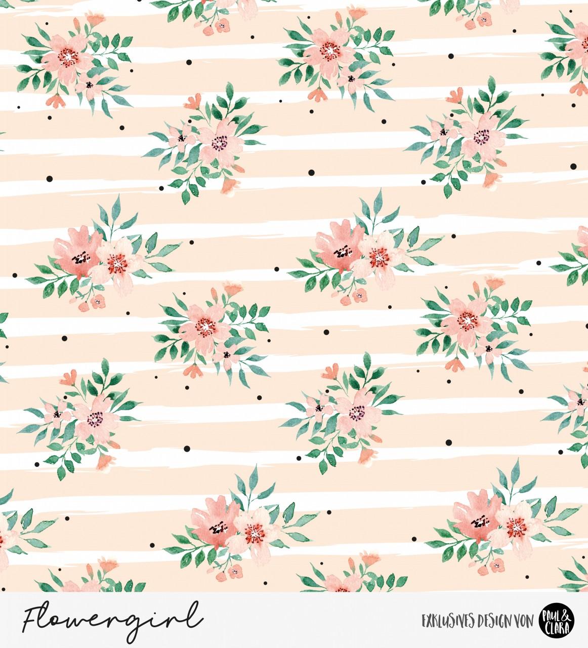 Eigenproduktion Flowergirl Blumen Peach Kombi *Jersey*