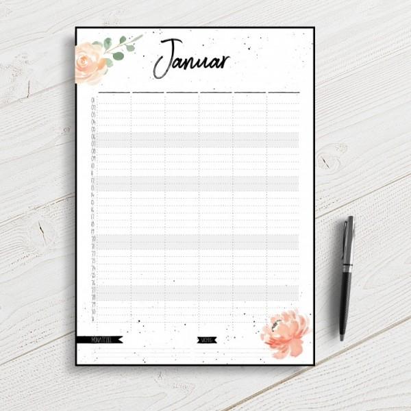 Flowerlove - Familienkalender A3