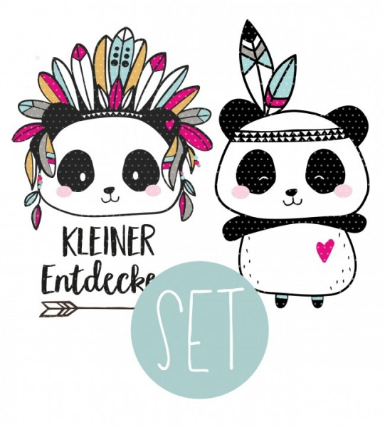 Applikationsvorlage Boho Panda