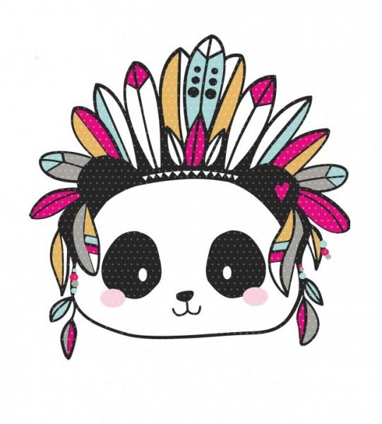 Plottervorlage Boho Panda Häuptling