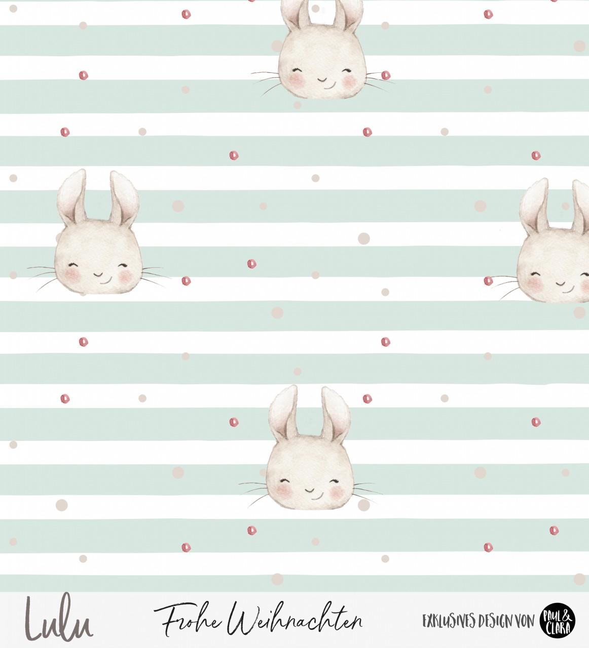 Lulu Weihnachten - Hasen Streifen MINT *Bio-Sommersweat*