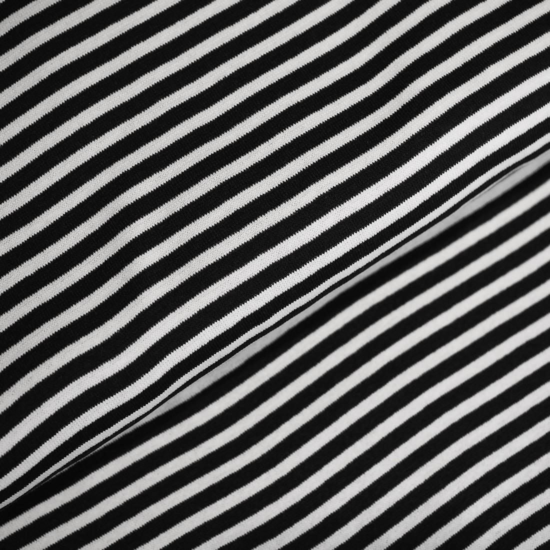 83 cm RESTSTÜCK-Bündchen - Streifen Schwarz/Weiß *Schlauchware*-