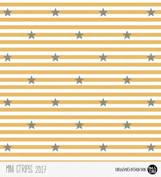 Eigenproduktion Mini Stripes meliert - Sterne Senf/Grau