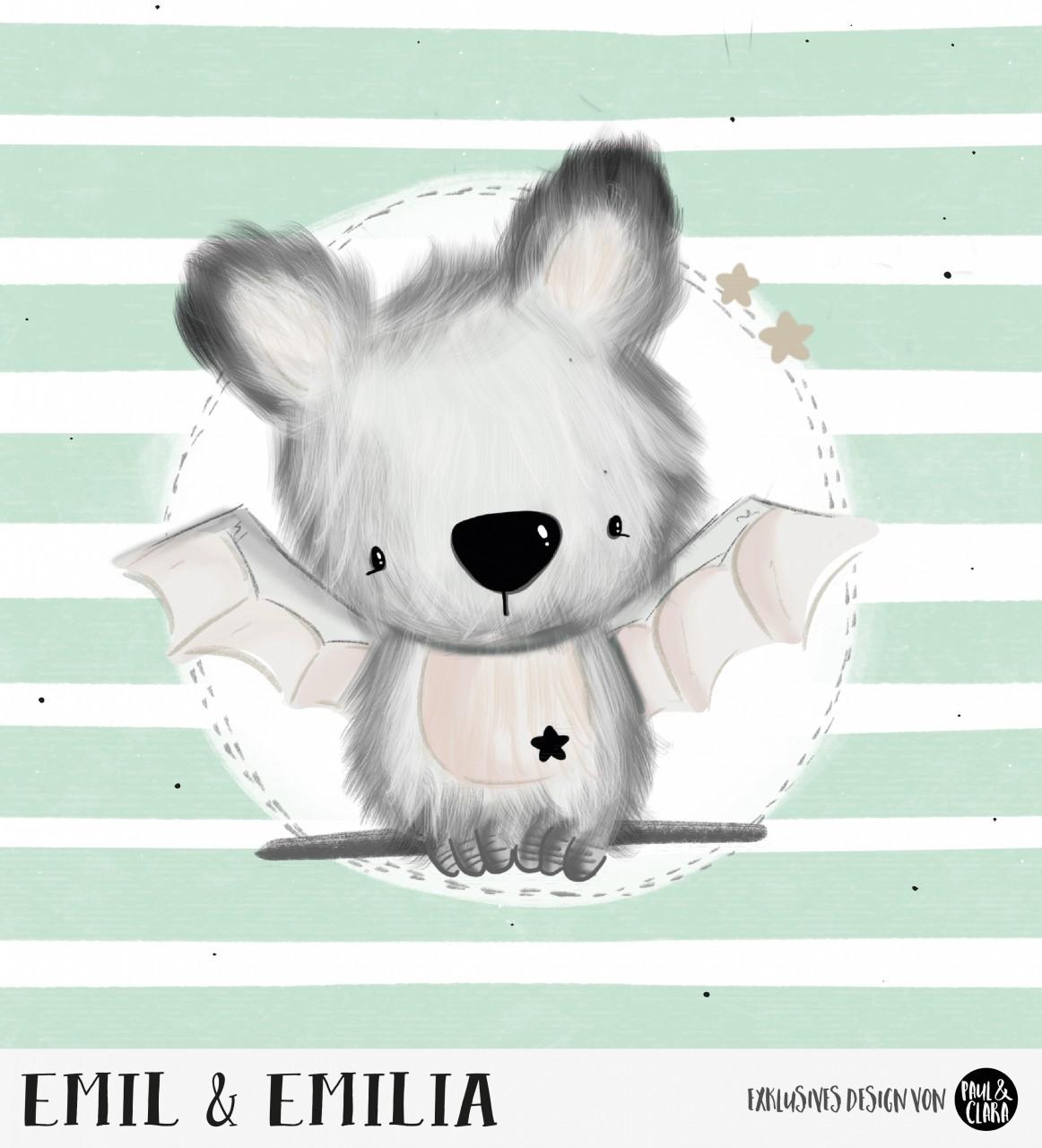 Emil & Emilia - Panel Mint 60 cm *Bio-Sommersweat*