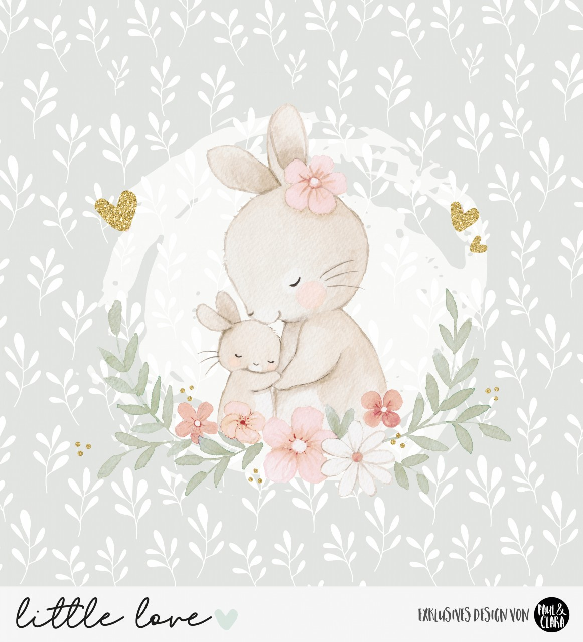 little love - Panel Hasenmama GRAUGRÜN *Bio-Jersey*