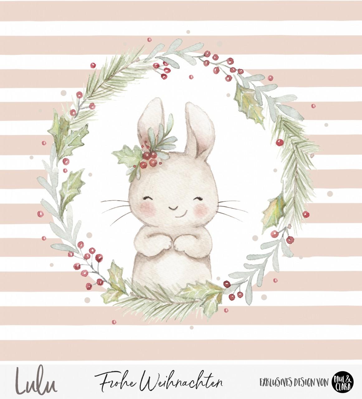 Lulu Weihnachten - Panel Rosa 60 cm *Bio-Sommersweat*