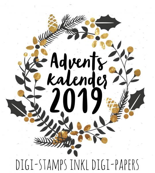 Adventskalender 2019 Digi-Stamps inkl Digi-Papers