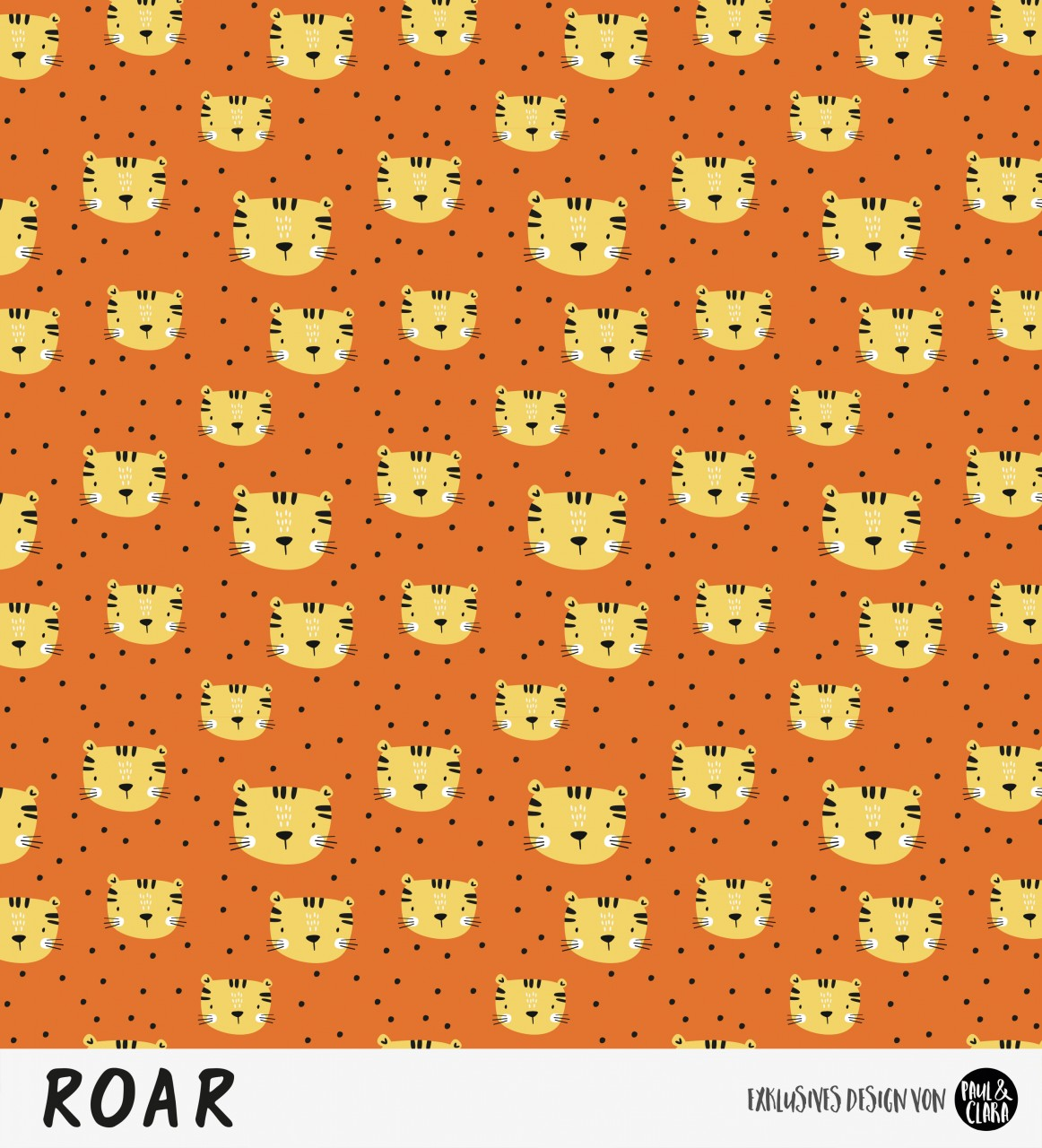 Eigenproduktion ROAR - Kombi Tigerkopf Rost/Gelb *Jersey*-RESTSTÜCK