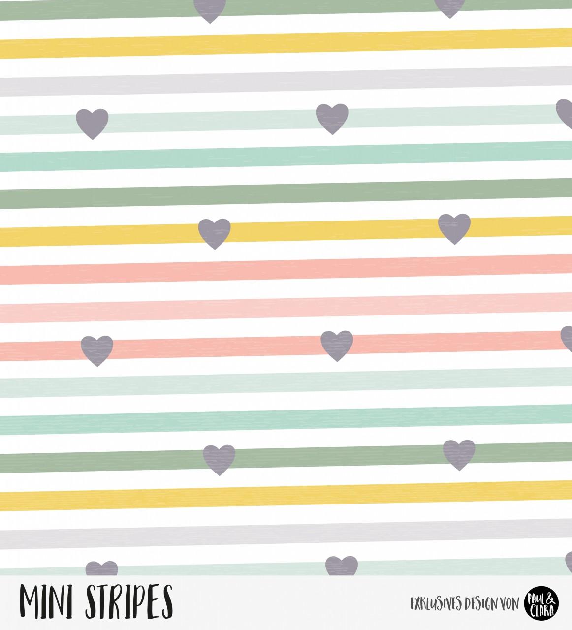 Mini Stripes meliert - Herzen Rainbow Lollypop Lachs/Grün/Gelb *Bio-Jersey*