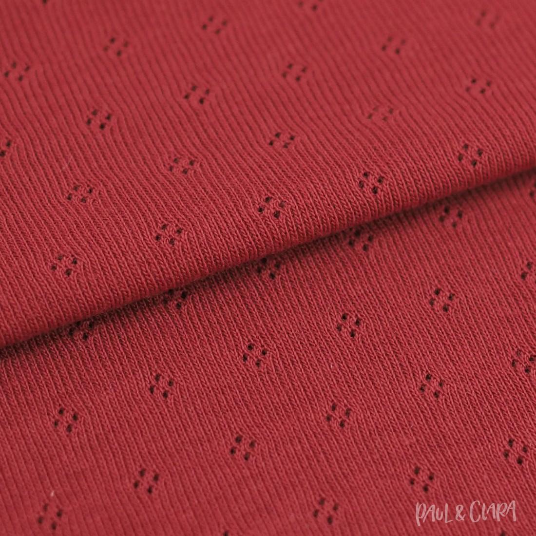 Feinstrickjersey mit Lochmuster - Rot