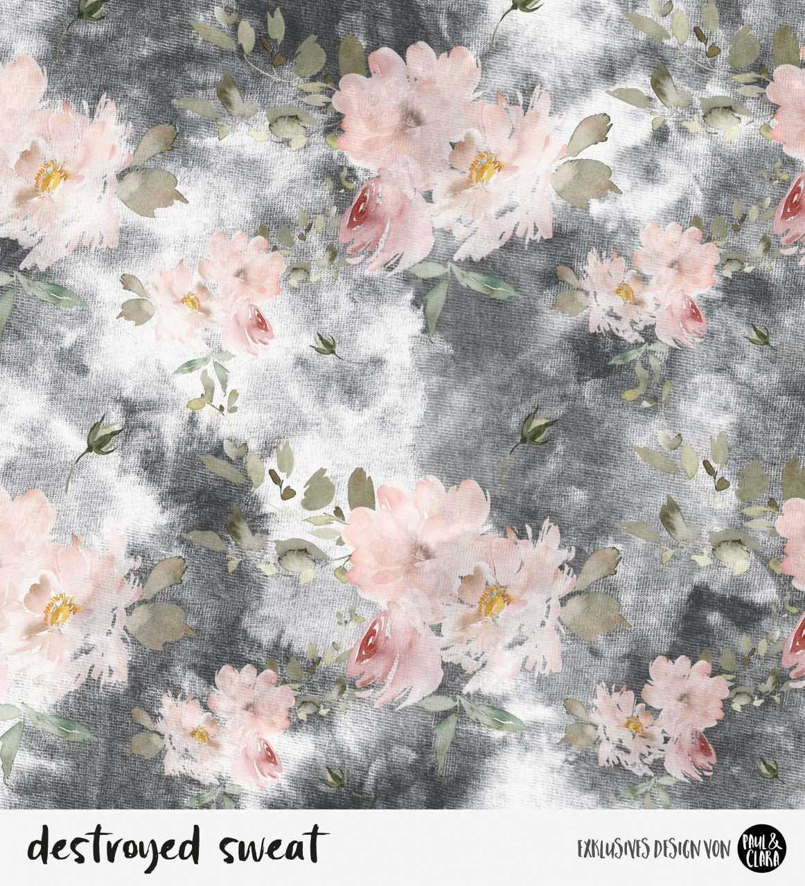 *VORBESTELLUNG* destroyed sweat  flowers - Schwarz *Bio-Sommersweat*