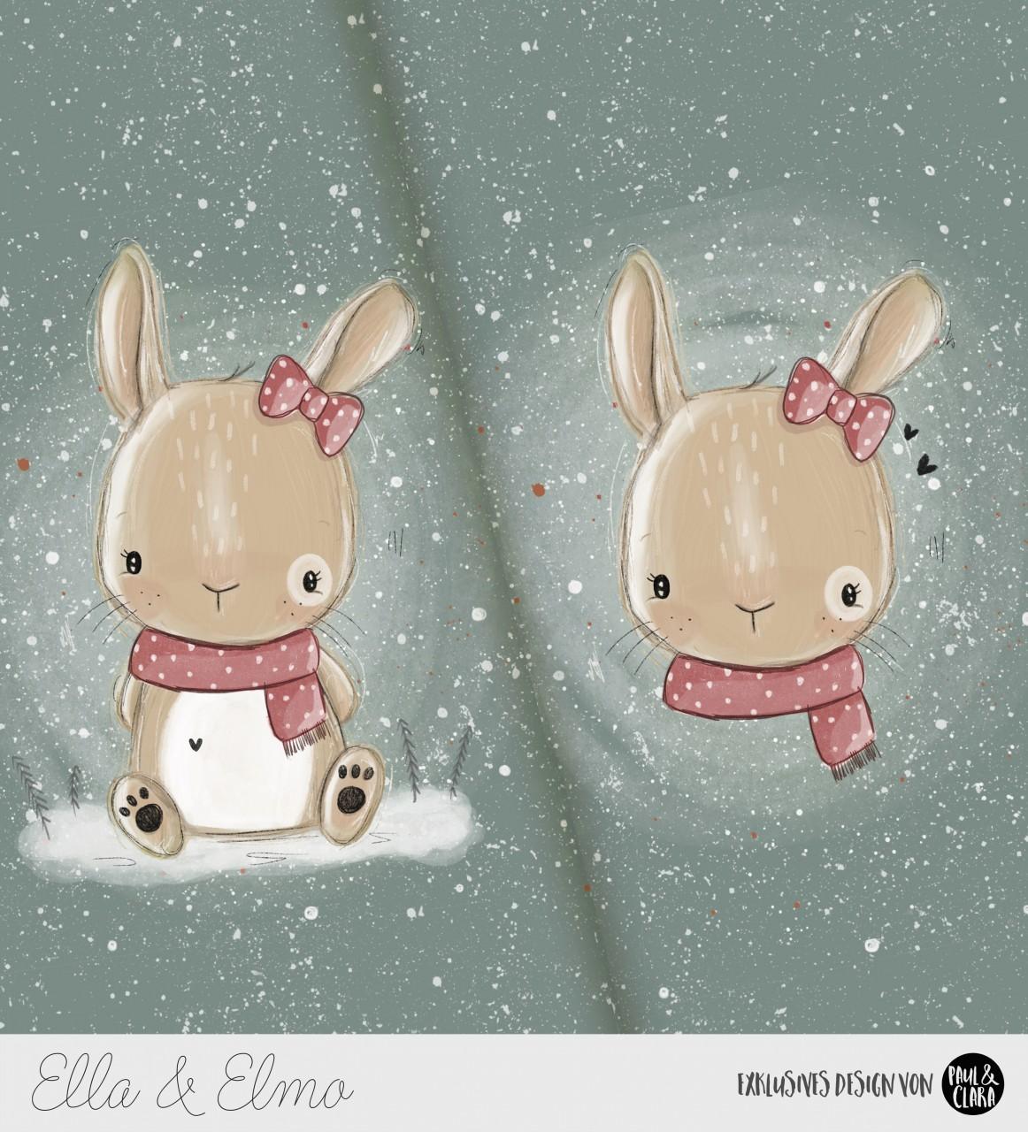 *VORBESTELLUNG* Ella & Elmo *Winter-Edition* - Panel Dunkelgrün *Bio-Sommersweat*