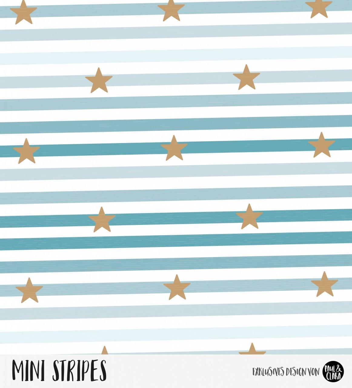 Mini Stripes meliert - Sterne Ombre Ozean/Kupfer *Bio-Jersey*