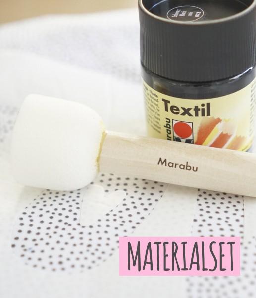 Textilfarbe-Set inkl Schwämmchen und Schablonenmaterial *schwarz*