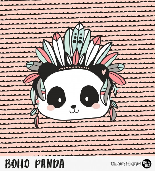 Eigenproduktion Boho Panda - Panel Rosé 60 cm *Sommersweat*