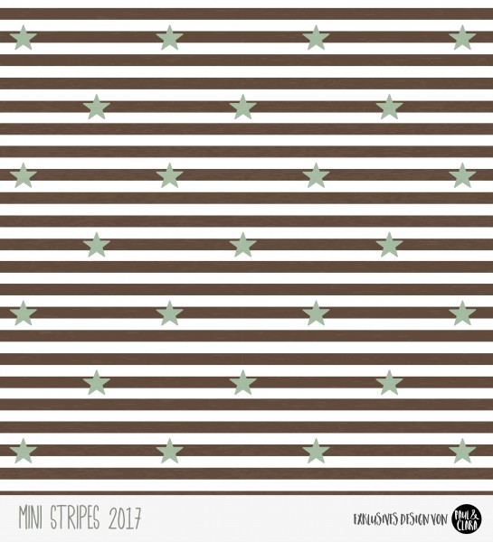 Eigenproduktion Mini Stripes meliert - Sterne Schokoladenbraun/Rauchgrün