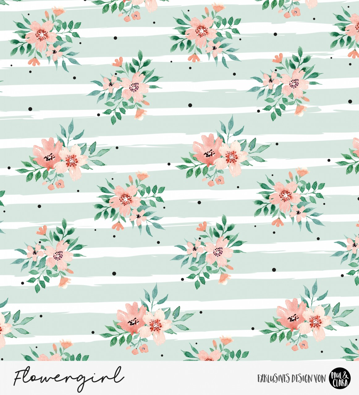 Eigenproduktion Flowergirl Blumen Mint Kombi *Jersey*