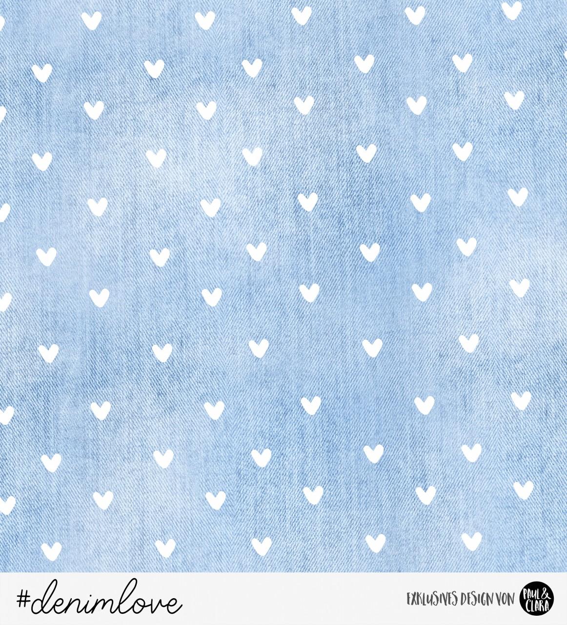 89 cm RESTSTÜCK-denimlove  - Blau Herzen *Bio-Sommersweat*-